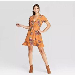 Xhilaration mustard floral dress size Xs